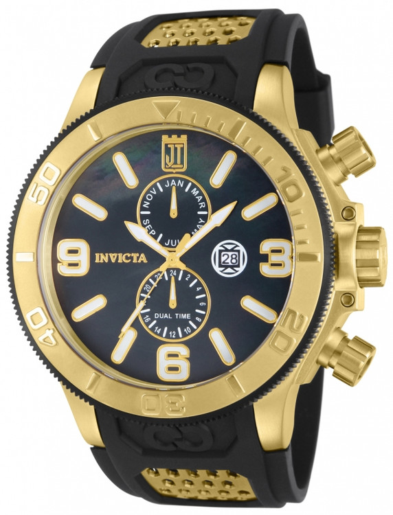 Invicta 13688 Jason Taylor Collection Quartz GMT Gold Tone Black M.O.P Black Polyurethane Strap Watch | Free Shipping