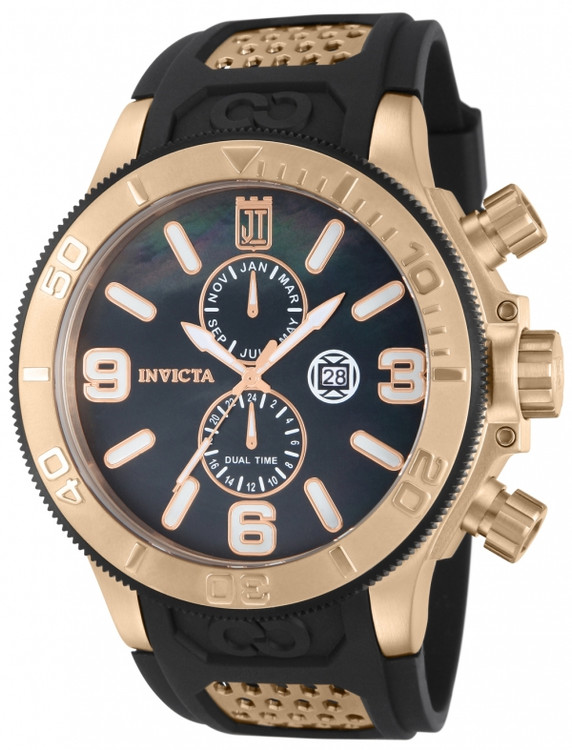 Invicta 13689 Jason Taylor Collection Quartz GMT Rose Gold Tone Black M.O.P Black Polyurethane Strap Watch | Free Shipping