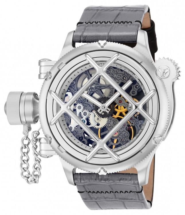 Invicta 14630 Men's Russian Nautilus Swiss Mechanical Gunmetal Dial Grey & Black Leather Strap Watch | Free Shipping