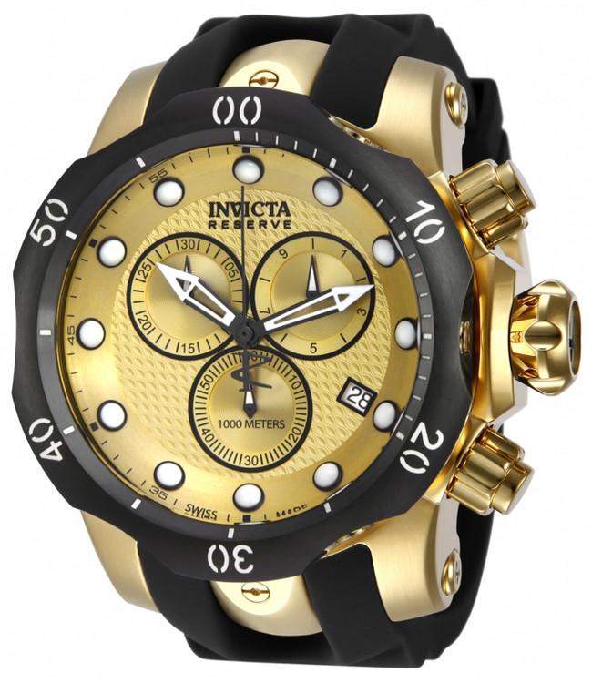 Invicta 16150 Reserve 52mm Venom Swiss Chronograph Gold Tone Polyurethane Strap Watch | Free Shipping