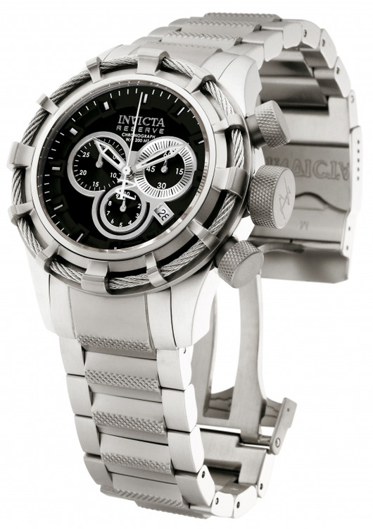 Invicta 1444 Reserve Bolt Swiss Made Chronograph Black Dial Stainless Steel Bracelet Watch | Free Shipping