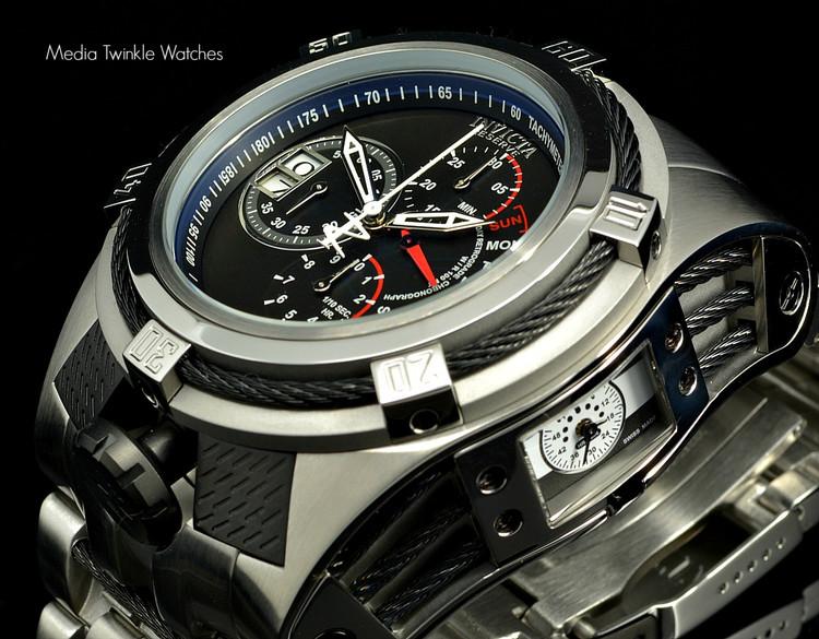 Invicta 16955 Reserve 53mm Bolt Zeus Tria Silver Tone Swiss Quartz Chronograph GMT Stainless Steel Bracelet Watch   Free Shipping