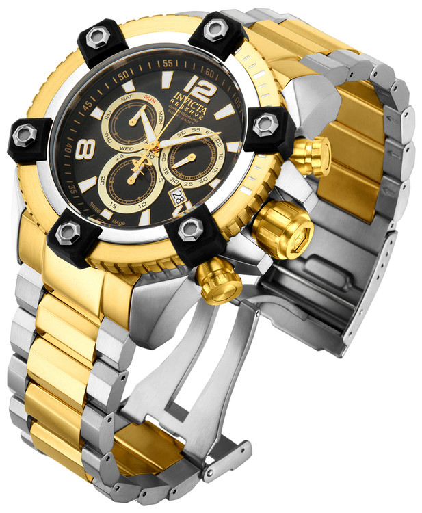 Invicta 15825 Reserve FULL SIZE Men's Arsenal Two-Tone Swiss Quartz Big Date Stainless Steel Bracelet Watch | Free Shipping
