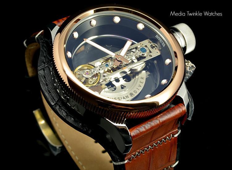 Invicta 14214 Russian Diver Bridge Automatic Rose Tone Brown and Black Lagarto Leather Strap Watch   Free Shipping