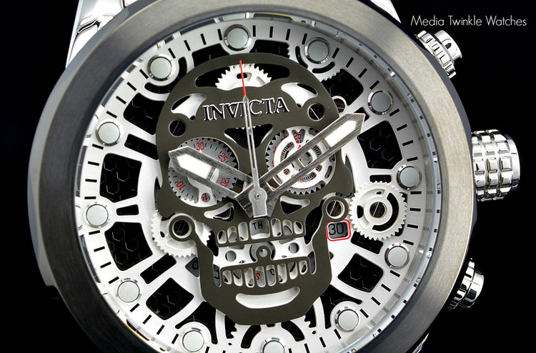 "Invicta 18866 Black ""Skull"" 50mm Corduba Collection Quartz Chronograph Bracelet Watch | Free Shipping"