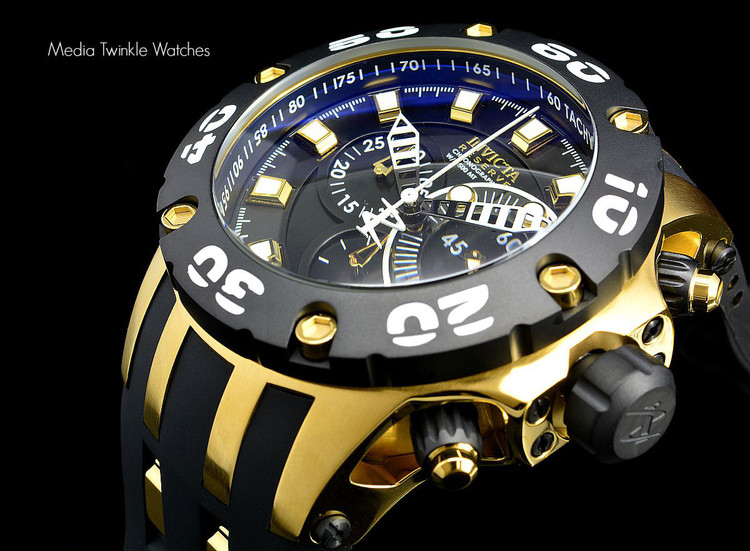 Invicta 0913 Reserve Scuba Specialty Subaqua Swiss Quartz Chronograph Black Dial Gold Tone Polyurethane Strap Watch | Free Shipping