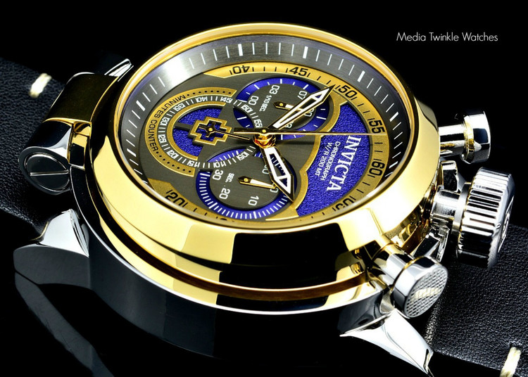 Invicta 18768 I Force Admiral 52mm Quartz Chronograph Blue Dial Leather Strap Watch | Free Shipping