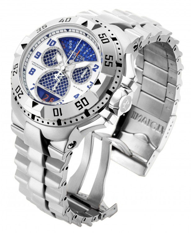 "Invicta 17469 Reserve Mens Excursion Blue Dial Swiss Quartz 8040.N ""Twisted Metal"" Silver Bracelet Watch 