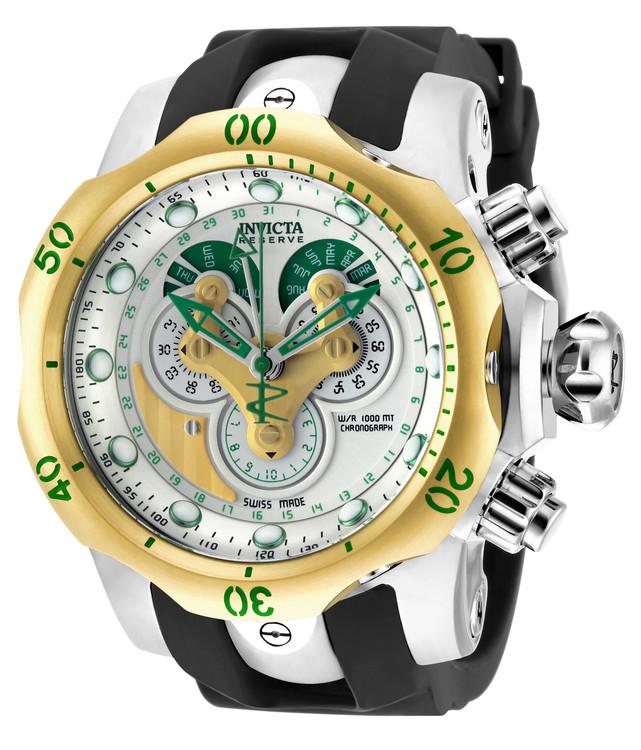 Invicta 18535 Reserve 52mm Venom Swiss Chronograph 5040F Silver Dial Gold & Green Accent Black Polyurethane Strap Watch | Free Shipping