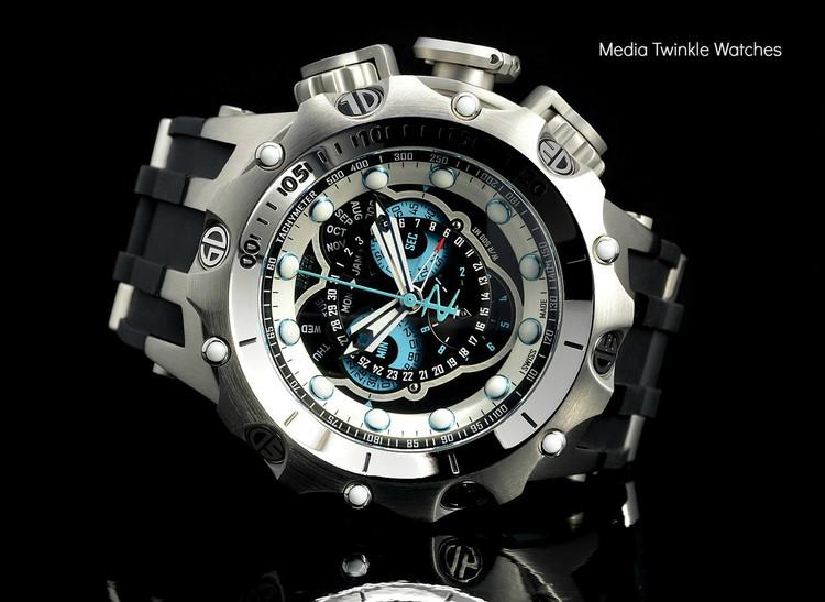 Invicta 20422 Reserve 52MM VENOM Hybrid Black Dal w/Silver 5040F Swiss Quartz  w/Black POLYURETHANE Watch | Free Shipping
