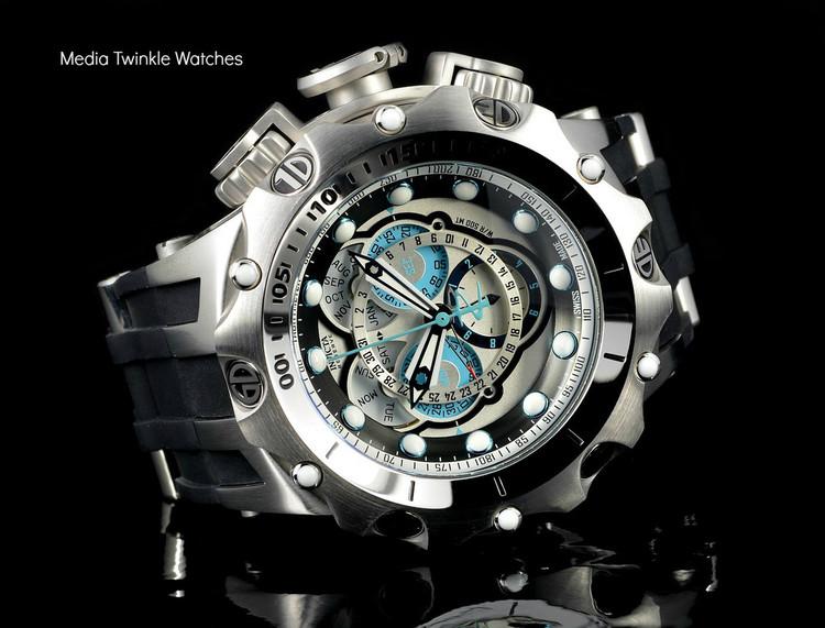Invicta 20423 Reserve 52MM VENOM Hybrid Silver Dal w/Silver 5040F Swiss Quartz  w/Black POLYURETHANE Watch | Free Shipping