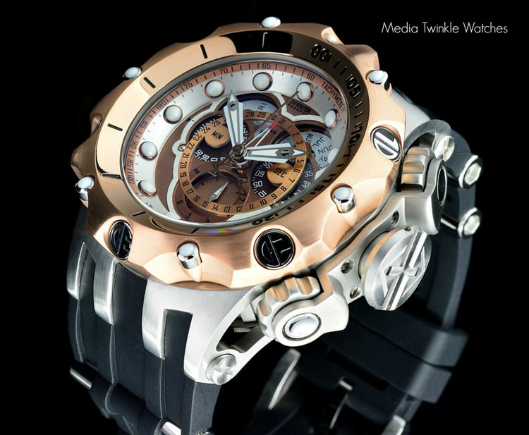 Invicta 20426 Reserve 52MM VENOM Hybrid Brown Dial Rose Gold Bezel 5040F Swiss Quartz POLYURETHANE Watch | Free Shipping