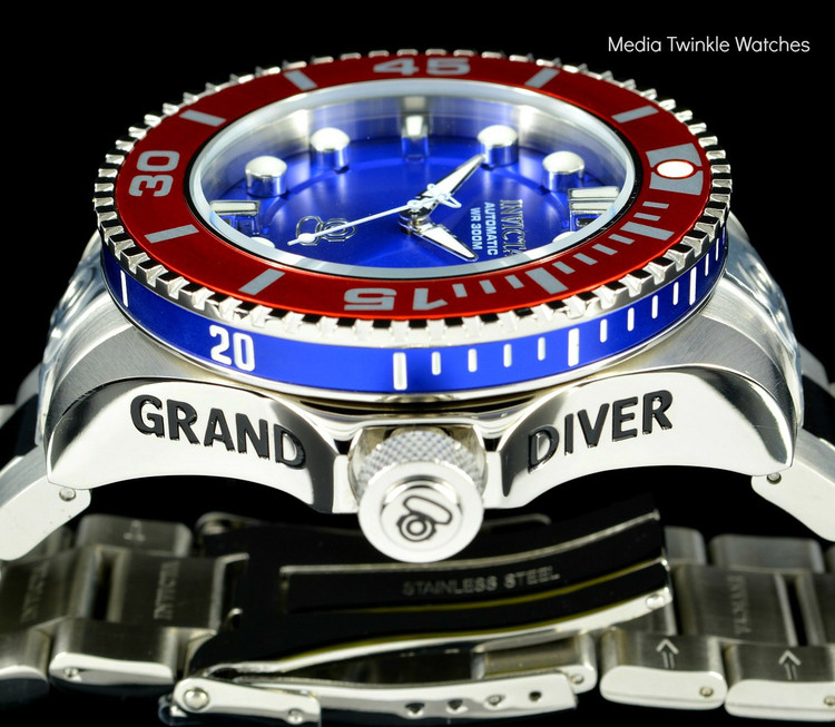Invicta 20174 Grand Diver 2 Gen II 47mm Automatic Blue Dial Red Bezel Stainless Steel Bracelet Watch | Free Shipping