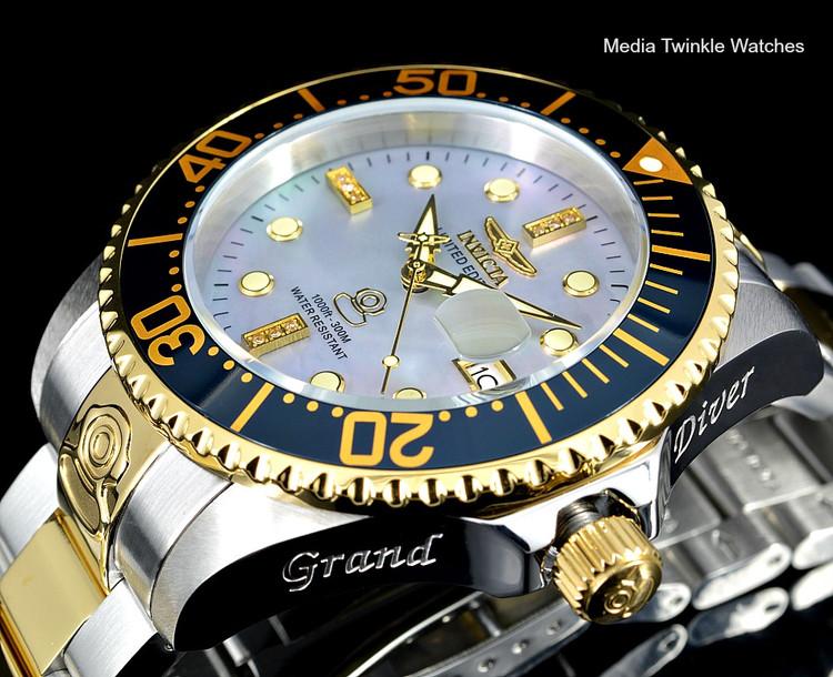 Invicta 47mm Grand Diver Automatic Diamond Accented Platinum M.O.P Dial  Bracelet watch - 22026