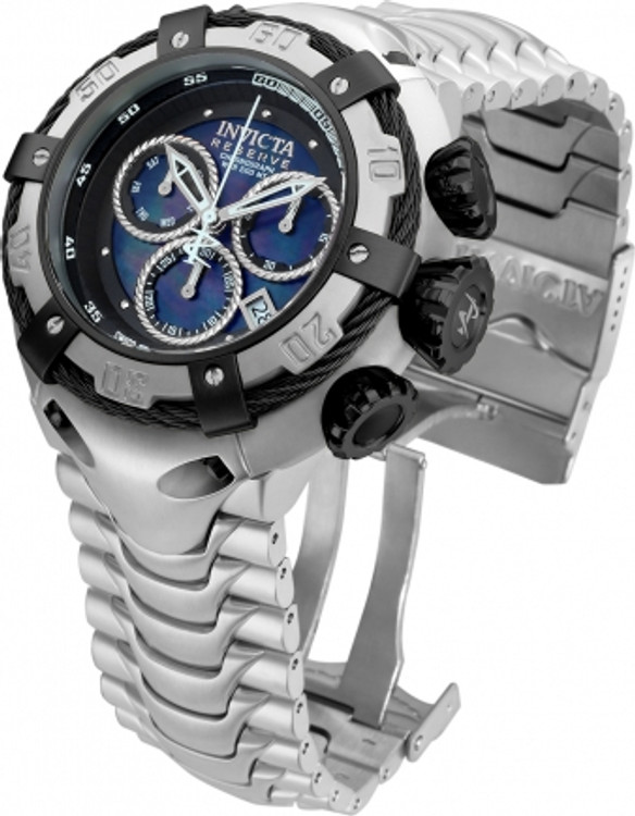 Invicta 21344 Reserve 52mm Thunderbolt Swiss Made Quartz Chronograph Silver & Black Bracelet Watch