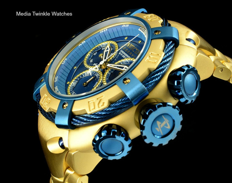 Invicta 21347 Reserve 52mm Thunderbolt Swiss Made Quartz Chronograph Gold Tone & Blue Bracelet Watch