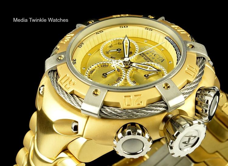 Invicta 21345 Reserve 52mm Thunderbolt Swiss Quartz Chronograph Gold Tone Dial Silver Bezel Bracelet Watch
