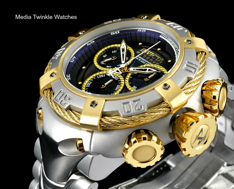 Invicta 21341 Reserve 52mm Thunderbolt Swiss Quartz Chronograph Gold Tone & Silver Bracelet Watch w/Case