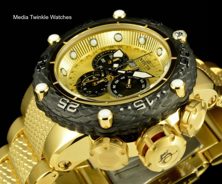 Invicta 21676 Subaqua Noma VI Swiss Quartz Chronograph Gold Tone & Black Bezel Bracelet Watch