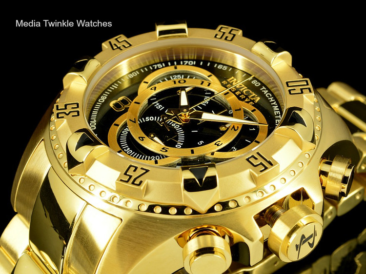 Invicta 80624 Reserve Excursion Swiss Quartz Chronograph Black Dial Silver Bezel Gold Plated Stainless Steel Watch | Free Shipping