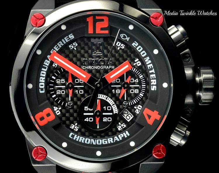 Invicta 23294 Corduba 50mm JASON TAYLOR BLACK RED Quartz Leather Watch w/JT 3 SLOTCase