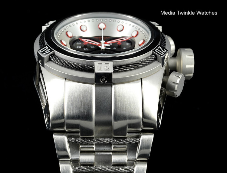 Invicta 22158 Reserve Bolt Zeus Swiss Quartz Chronograph Black Dial Black Bezel Bracelet Watch   Free Shipping