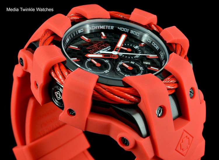 Invicta 50mm Bolt Sport Black Carbon Dial Red Silicone Strap Watch 23870