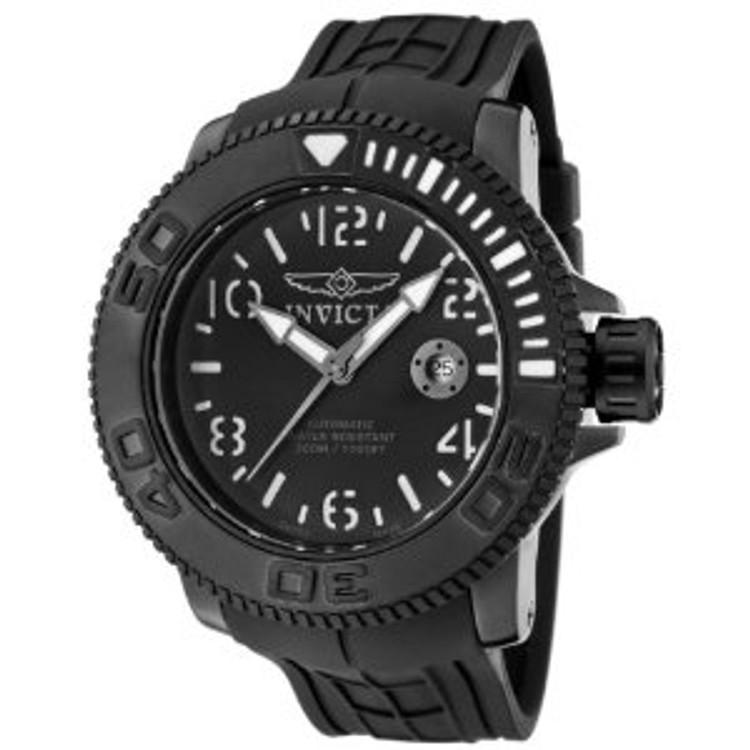 Invicta 1073 Men's Invicta II Automatic Black Dial Black Rubber Watch   Free Shipping