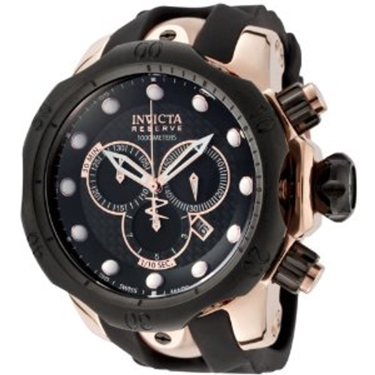 Invicta 0361 Men's Reserve Venom Collection Chronograph Black Polyurethane Watch | Free Shipping