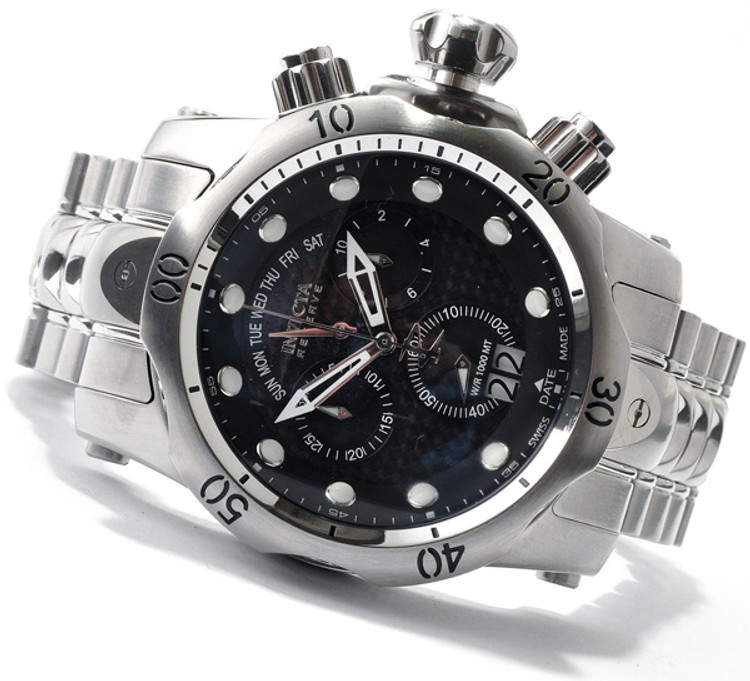 Invicta 1540 Reserve Venom Swiss Made Chronograph Black Carbon Fiber Dial Stainless Steel Watch w/ Strap | Free Shipping
