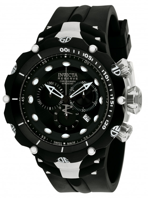 Invicta 1518 Reserve VENOM II Second Generation Swiss Made Chronograph Black Dial Black and Silver Stainless Steel Case Polyurethane Watch (NEW MODEL) | Free Shipping