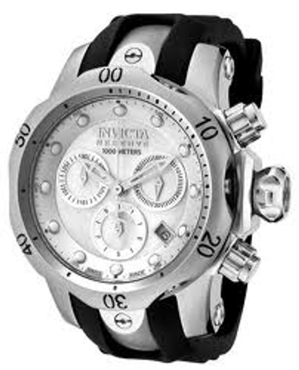 Invicta 0953 Womens Reserve Venom White Mother-of-Pearl Dial Swiss Made Chronograph Polyurethane Watch