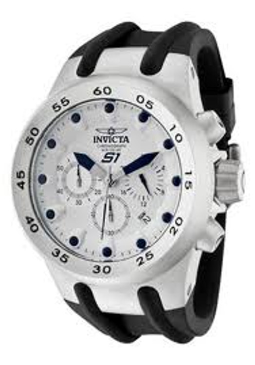 Invicta 1508 Specialty S1 Chronograph Silver Dial Stainless Steel Case Black Polyurethane Watch | Free Shipping