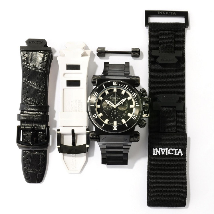 Invicta 10033 Men's Coalition Forces Black Label Swiss Made Quartz Chronograph Bracelet Watch PLUS 3 SLOT DIVE CASE | Free Shipping