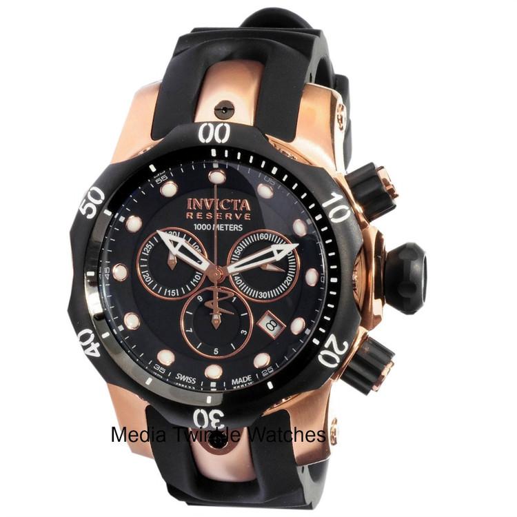 Invicta 0948 Reserve Venom MID-SIZE Swiss Quartz Chronograph Rose-Gold Tone Polyurethane Strap Watch   Free Shipping