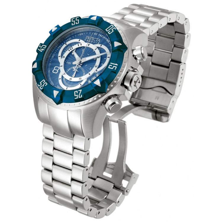 Invicta 11009 Reserve Men's Excursion Blue Dial Blue IP Bezel Swiss Quartz Chronograph Bracelet Watch w/ 8 SLOT DIVE CASE | Free Shipping