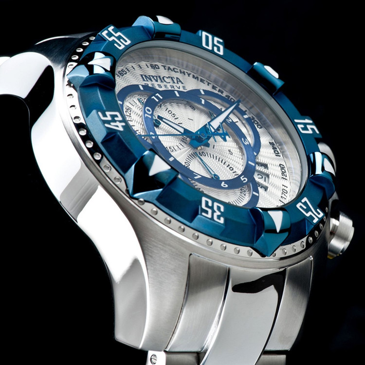 Invicta 11007 Reserve Men's Excursion Silver Dial Blue IP Bezel Swiss Quartz Chronograph Bracelet Watch | Free Shipping