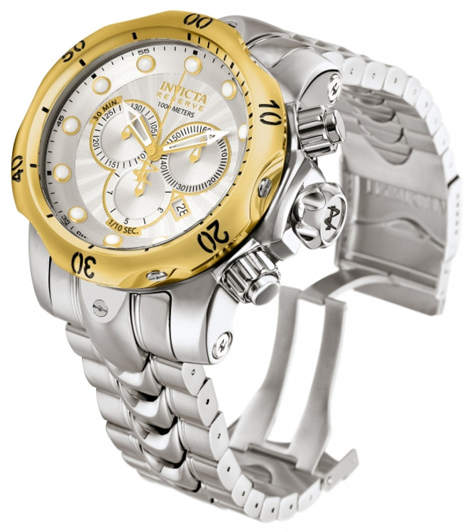 Invicta 10788 Reserve Men's Venom Swiss Made Quartz Chronograph Silver Dial Stainless Steel Bracelet Watch | Free Shipping