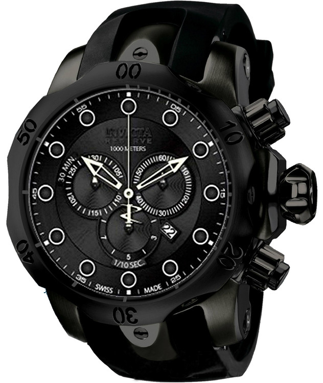 Invicta 11962 Reserve Men's Venom Monotone Swiss Made Quartz Chronograph Stainless Steel Strap Watch | Free Shipping