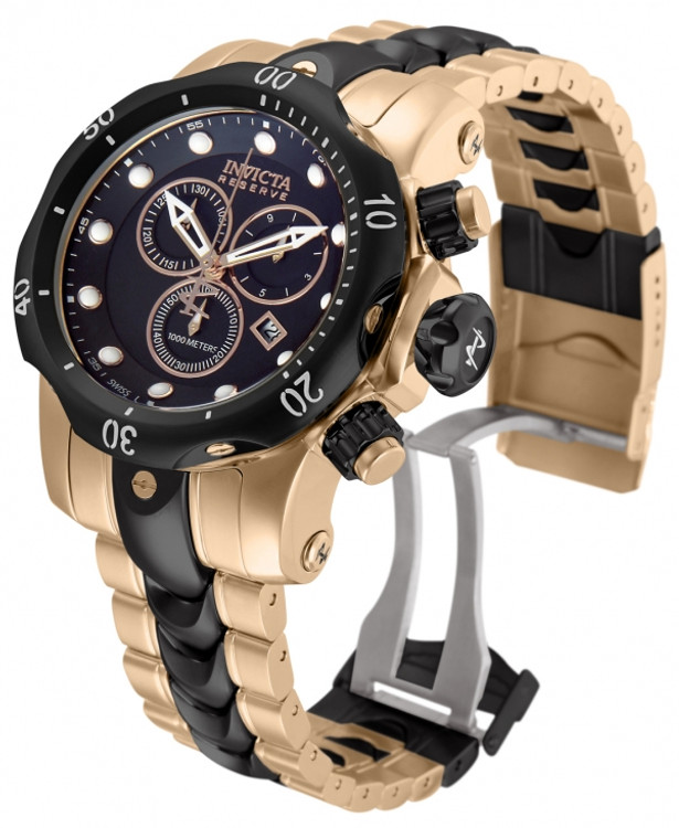 Invicta 10573 Mid-Size Reserve Venom Black and Rose Gold Stainless Steel Watch | Free Shipping