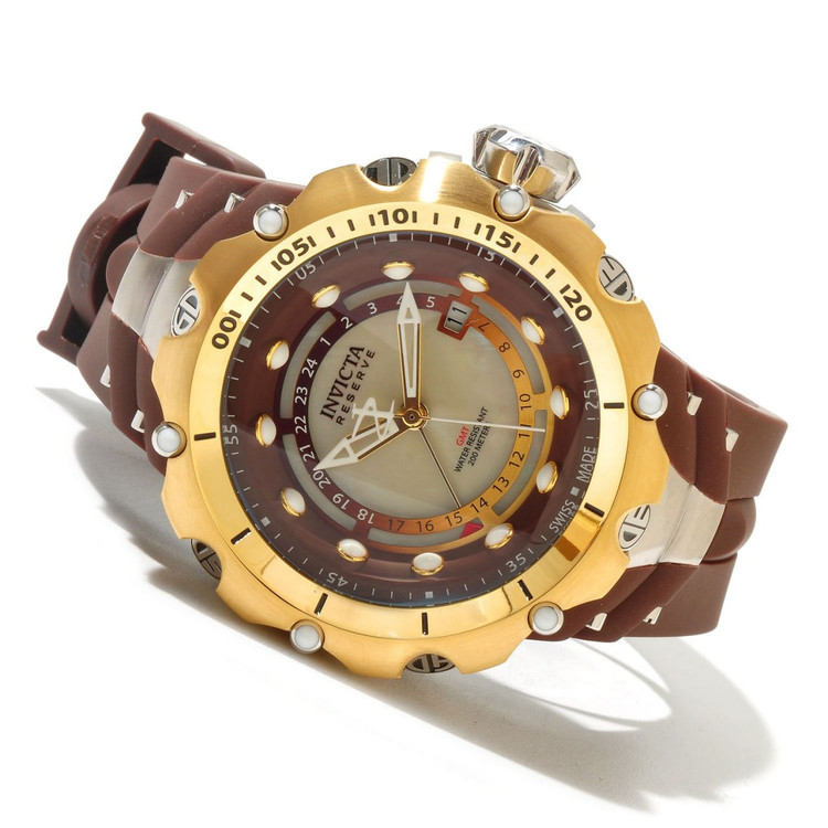 Invicta 12775 Reserve Venom II Swiss GMT River Pearl Dial Gold Tone Brown Strap | Free Shipping