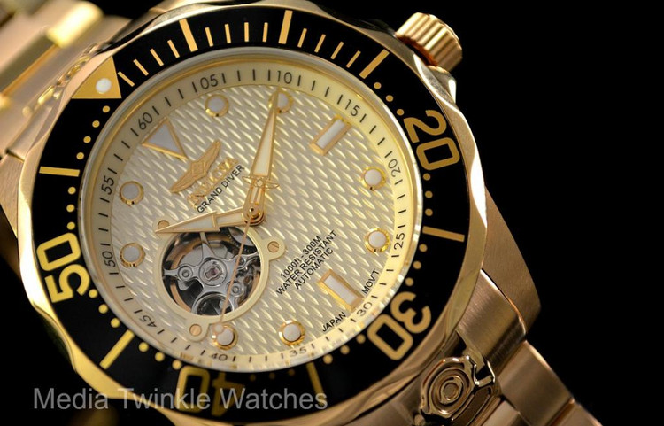 """Invicta 13710 Grand Diver Automatic All Gold Plated """"Open Heart"""" Stainless Steel Bracelet Watch 