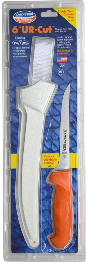 "Dexter Russell UR-Cut 6"" Flexible Fillet Knife Moldable Handle & Sheath 24663 UC136FF-WS1-PCP"