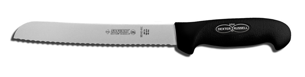 """SG162-8SC Dexter Russell 8"""" Scalloped Bread Knife with SofGrip Handle"""