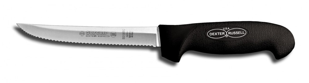 """SG156SCB Dexter Russell  6"""" Scalloped Utility Knife with SofGrip Handle"""