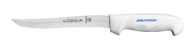 "SG158SCB Dexter Russell 8"" Scalloped Utility Slicer with SofGrip Handle"
