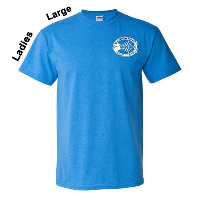 Charity Fishbone Knives Ladies 100% Cotton Sapphire Large T-Shirt