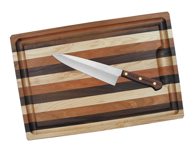 """Dexter Russell Beginner Chef Set Traditional 10"""" Cook's Knife Walnut Handle 12251 659-10 w/ Mixed Hardwood Cutting Board"""