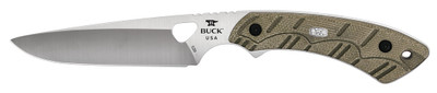 Buck 539 Open Season Small Game Fixed S35VN Satin Blade OD Green Micarta Handle Black Leather Sheath 0539ODS 11706