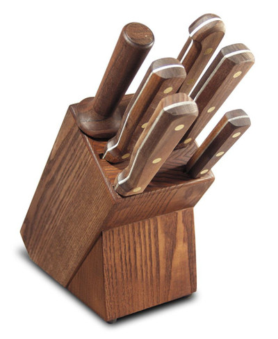 Dexter Russell 7 Piece Traditional Knife Slant Block Set Walnut Handles VB3982